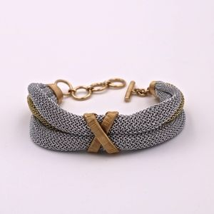 A&M Twisted Silver and Gold Mesh Bracelet